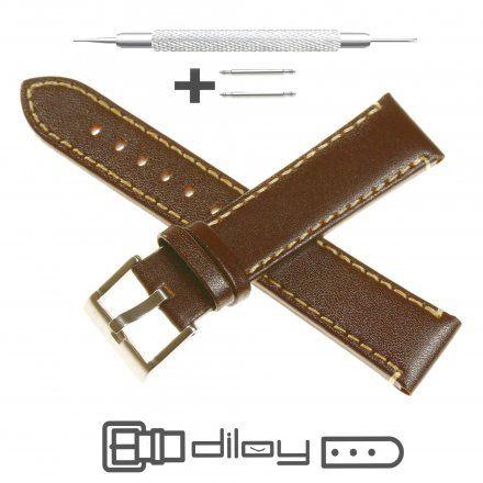 Pasek DILOY Fashion 373.20.02 Skórzany Brazowy 20 mm - GRATIS dwa teleskopy i narzędzie
