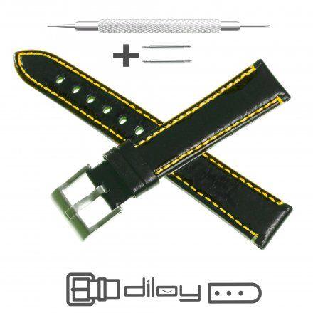 Pasek DILOY Fashion 373.20.55 Skórzany Czarny 20 mm - GRATIS dwa teleskopy i narzędzie