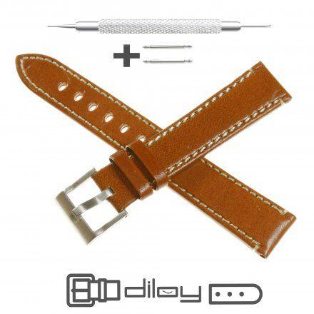 Pasek DILOY Fashion 373.22.09 Skórzany Jasnobrązowy 22 mm - GRATIS dwa teleskopy i narzędzie
