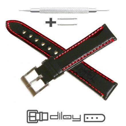 Pasek DILOY Fashion 373.22.53 Skórzany Czarny 22 mm - GRATIS dwa teleskopy i narzędzie