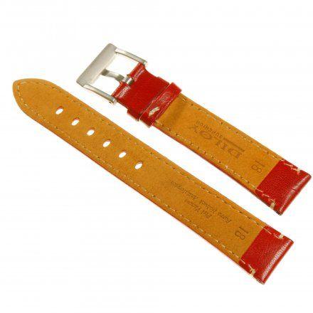 Pasek DILOY Fashion 373.24.06 Skórzany Czerwony 24 mm - GRATIS dwa teleskopy i narzędzie