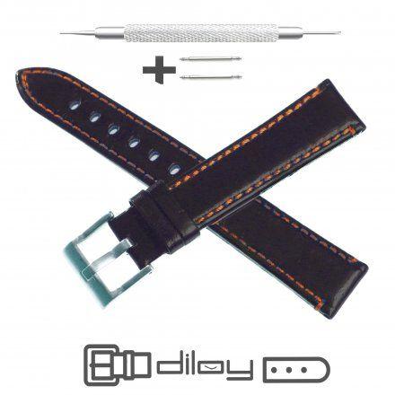 Pasek DILOY Fashion 373.24.56 Skórzany Czarny 24 mm - GRATIS dwa teleskopy i narzędzie