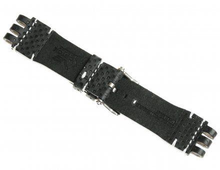 Pasek do zegarka Vostok Europe Energia 3  Skórzany A538 czarny dziurkowany srebrna klamra