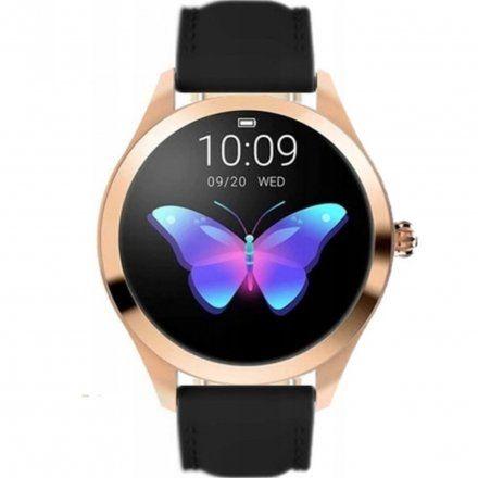 Różowozłoty smartwatch damski Rubicon z czarnym paskiem RNAE36RIBX05AX