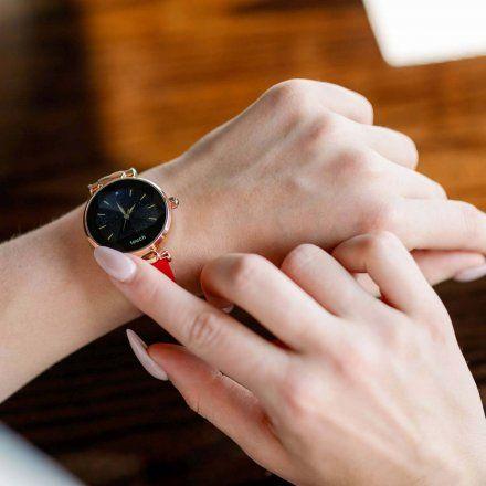 Smartwatch Garett Women Lisa czerwono-złoty skórzany