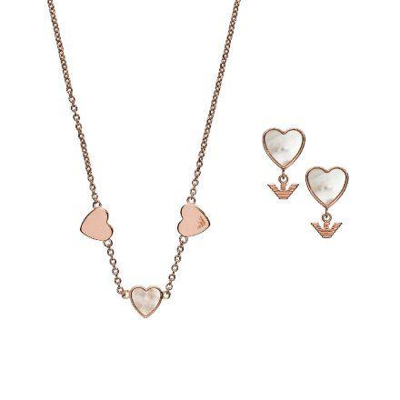 Zestaw biżuterii damski Emporio Armani EG3416221 naszyjnik i kolczyki Oryginalna Biżuteria EA