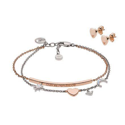Zestaw biżuterii damski Emporio Armani EG3417221 bransoletka i kolczyki Oryginalna Biżuteria EA