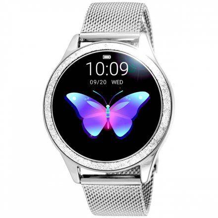 Srebrny smartwatch damski Rubicon z błyszczącym pierścieniem RNBE45SIBX05AX