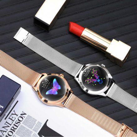 Różowozłoty smartwatch damski Rubicon z błyszczącym pierścieniem RNBE45RIBX05AX