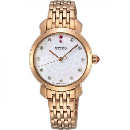 Seiko SUR624P1 Zegarek Damski różowozłoty z Diamentami