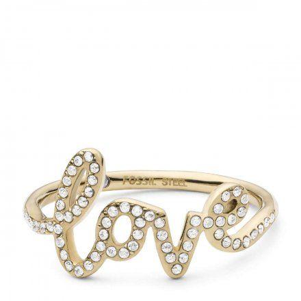 FOSSIL Złoty pierścionek damski LOVE JF03345710 r.13