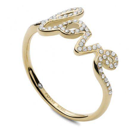 FOSSIL Złoty pierścionek damski LOVE JF03345710 r.16