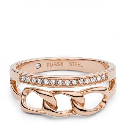 FOSSIL Różowozłoty pierścionek damski JF03351791 r.10