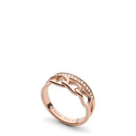 FOSSIL Różowozłoty pierścionek damski JF03351791 r.19