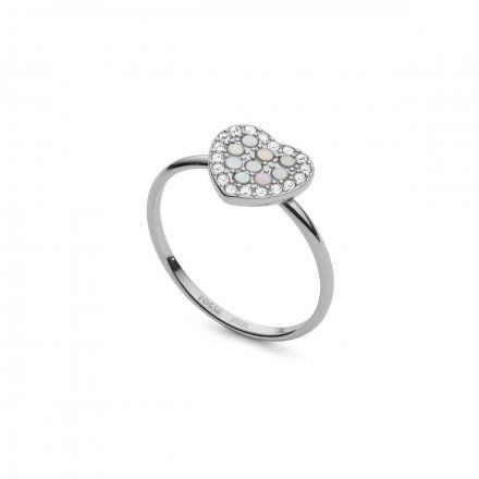 FOSSIL Srebrny pierścionek damski Serce JF03412040 r.19