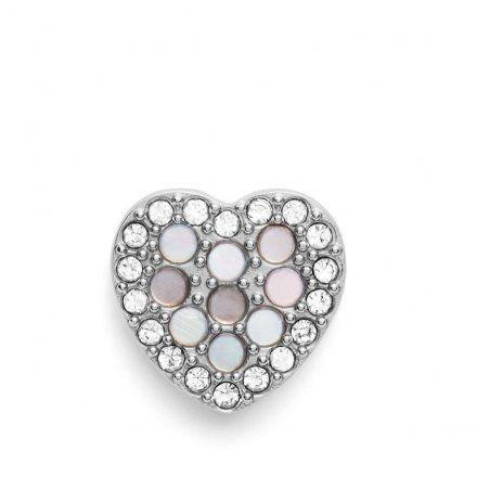 FOSSIL Srebrne kolczyki damskie serca JF03413040