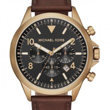 MK8785 Zegarek Męski Michael Kors Gage z brązowym paskiem