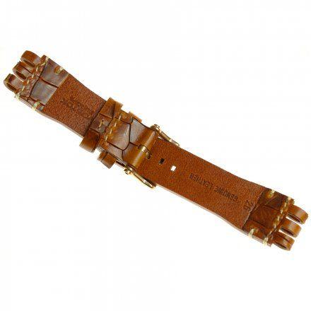 Pasek do zegarka Vostok Europe Energia 3  Skórzany B281 brązowy croco błyszcza złota klamra