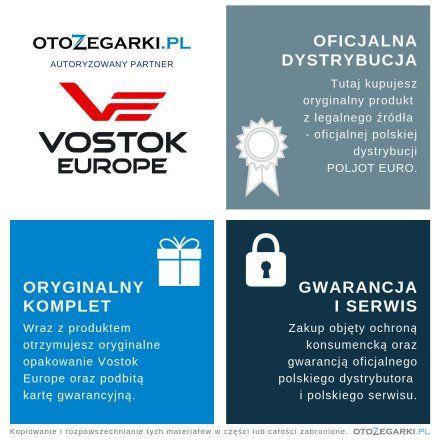 Pasek do zegarka Vostok Europe Energia 3  Skórzany E282 czarny croco błyszcza złota klamra