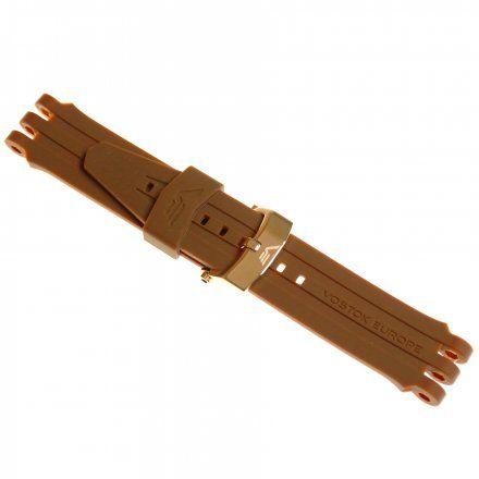 Pasek do zegarka Vostok Europe Energia 3  Silikonowy B281 brązowy błyszcza złota klamra