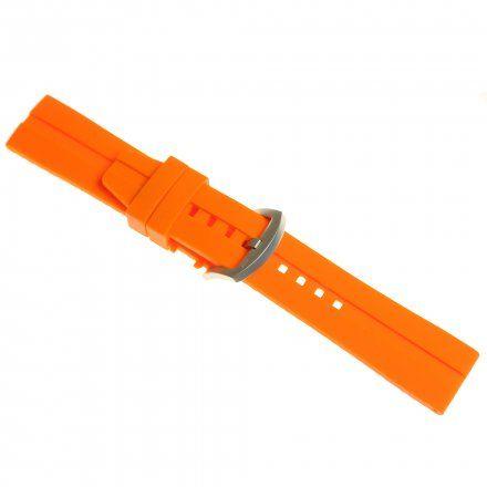 Pasek do zegarka Vostok Europe Almaz  Silikonowy H263 Pomarańczowy srebrna matowa klamra
