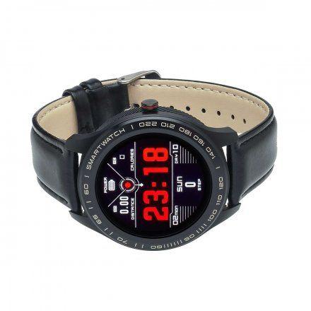 Smartwatch Garett Men 3S czarny z paskiem skórzanym