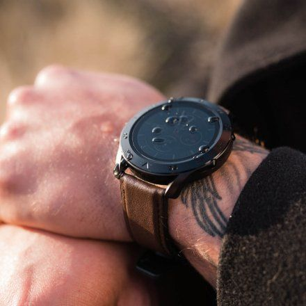 Smartwatch Garett Men 3S RT brązowy z paskiem skórzanym