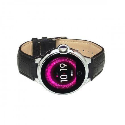 Smartwatch Garett Women Karen czarno-srebrny z paskiem skórzanym
