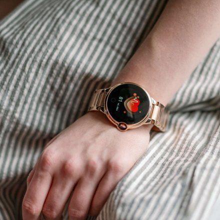 Smartwatch Garett Women Karen RT czarno-srebrny z paskiem skórzanym