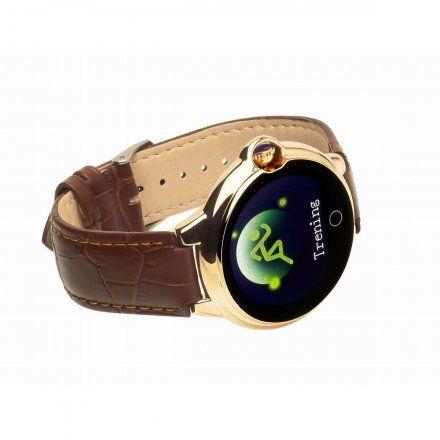 Smartwatch Garett Women Karen brązowy z paskiem skórzanym