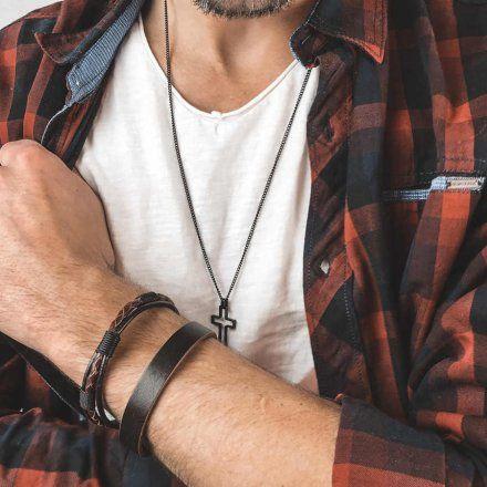 Biżuteria Manoki skórzana bransoletka męska  BA801A