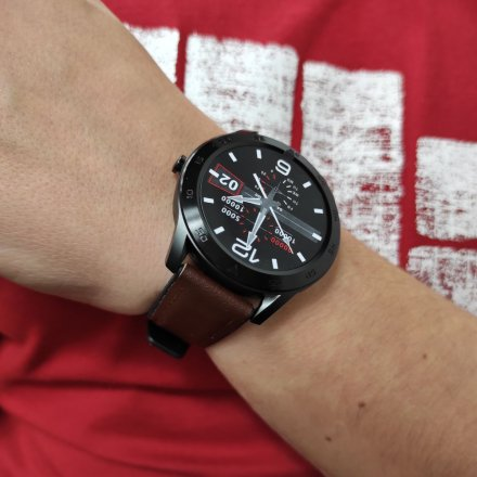 Smartwatch Garett GT22S RT ciemny brąz z paskiem skórzanym