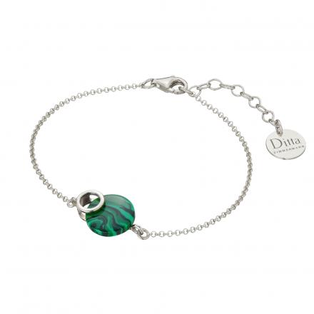 Bransoletka srebrna z malachit Biżuteria Ditta Zimmermann DZB261/MAL/R