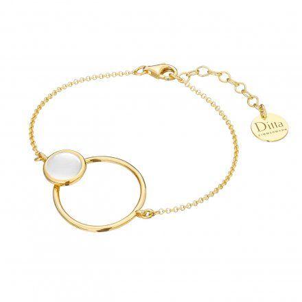 Bransoletka srebrna pozłącana z masa perłowa Biżuteria Ditta Zimmermann DZB372/MPB/Z