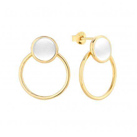 Kolczyki srebrne pozłacane z masą perłowa  Biżuteria Ditta Zimmermann DZK371/MPB/Z