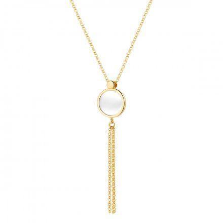 Naszyjnik srebrny pozłacany z masa perłowa Biżuteria Ditta Zimmermann DZN379/MPB/Z