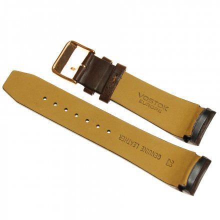 Pasek do zegarka Vostok Europe Pasek Gaz-14 - Skóra 565 (B288) brązowy ciemny gładki różowe złoto klamra