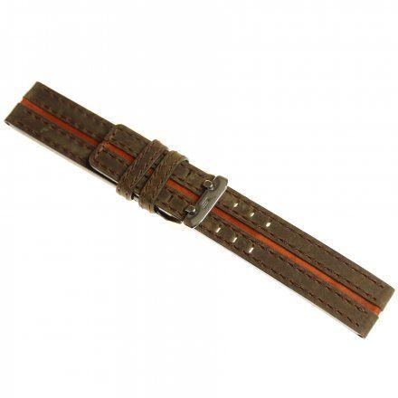 Pasek do zegarka Vostok Europe Pasek Expedition 2006 - Skóra 20mm brązowy z pomarańczowym środkiem