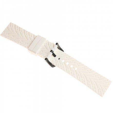 Pasek do zegarka Vostok Europe Pasek Expedition - Silikon (4199) biały czarna klamra