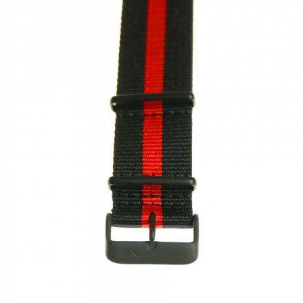 Pasek do zegarka Vostok Europe Pasek Expedition - Nylon (4194) czarny z czerwonym środkiem czarna klamra
