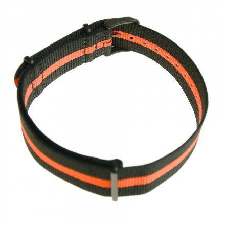 Pasek do zegarka Vostok Europe Pasek Expedition - Nylon (4197) czarny z pomarańczowym środkiem czarna klamra