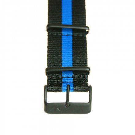 Pasek do zegarka Vostok Europe Pasek Expedition - Nylon (4198) czarny z niebieskim środkiem czarna klamra