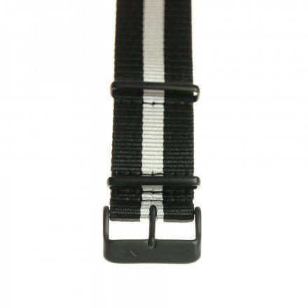 Pasek do zegarka Vostok Europe Pasek Expedition - Nylon (4199) czarny z białym środkiem czarna klamra