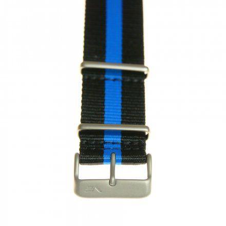 Pasek do zegarka Vostok Europe Pasek Expedition - Nylon (5195) czarny z niebieskim środkiem matowa klamra