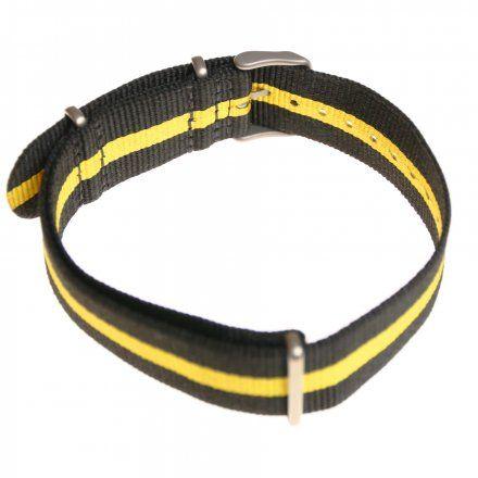 Pasek do zegarka Vostok EuropePasek Expedition - Nylon (5196) czarny z żółtym środkiem matowa klamra