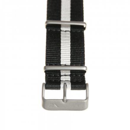 Pasek do zegarka Vostok Europe Pasek Expedition - Nylon (5199) czarny z białym środkiem matowa klamra