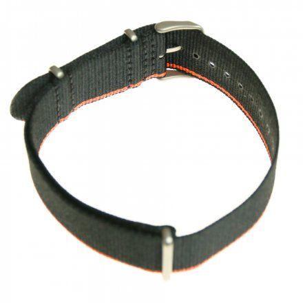 Pasek do zegarka Vostok Europe Pasek Expedition - Nylon (7242) czarny z pomarańczowym bokiem matowa klamra