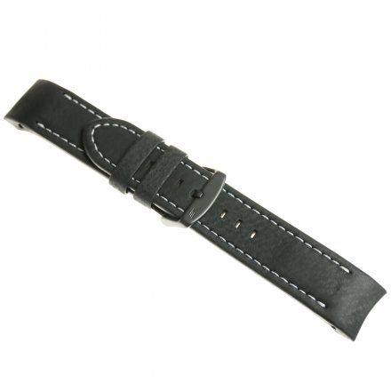 Pasek do zegarka Vostok Europe Pasek Anchar - Skóra (4142) czarny z białym przeszyciem czarna klamrą
