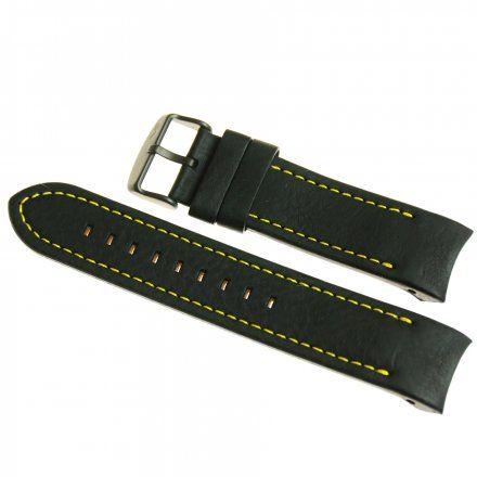 Pasek do zegarka Vostok Europe Pasek Anchar - Skóra (4144) czarny z żółtym przeszyciem czarna klamrą