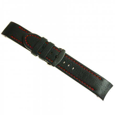 Pasek do zegarka Vostok Europe Pasek Anchar - Skóra (4244) czarny z czerwonym przeszyciem czarną klamrą